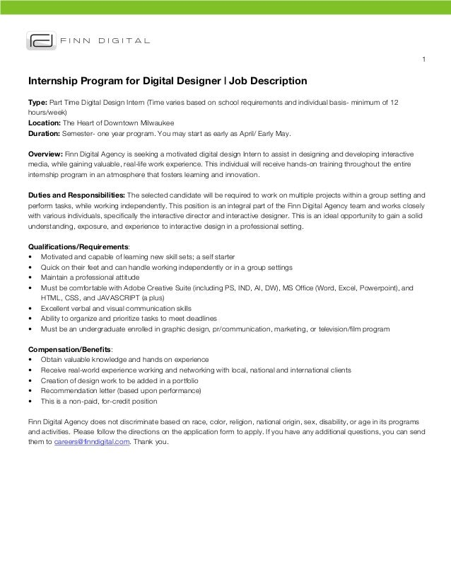 1	  Internship Program for Digital Designer | Job DescriptionType: Part Time Digital Design Intern (Time varies based on s...