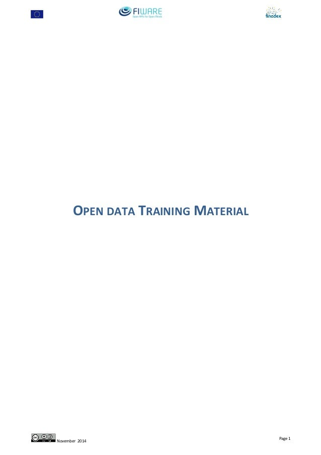OPEN DATA TRAINING MATERIAL November 2014 Page 1