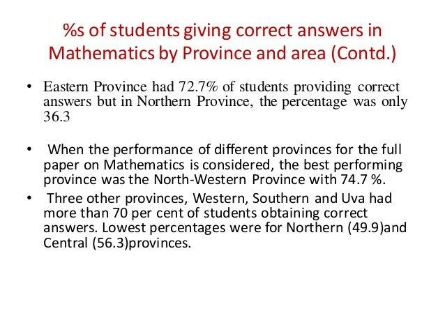 Study on achievement levels of the Grade 3 Sri Lankan Primary School …