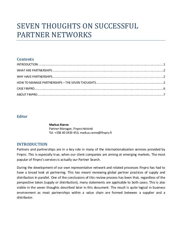 SEVEN THOUGHTS ON SUCCESSFULPARTNER NETWORKSContentsINTRODUCTION ............................................................