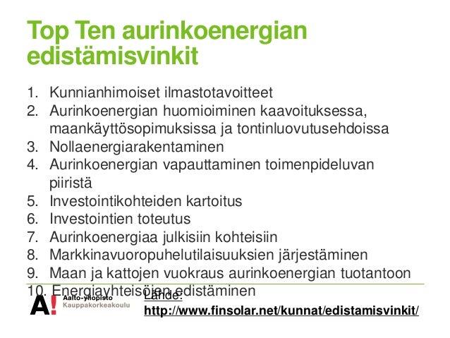 Top Ten vinkit kunnille aurinkoenergian ja energiatehokkuuden edistämiseksi Slide 2