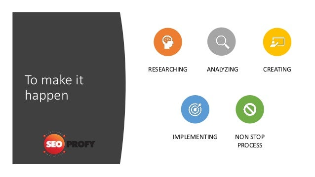 To make it happen RESEARCHING ANALYZING CREATING IMPLEMENTING NON STOP PROCESS