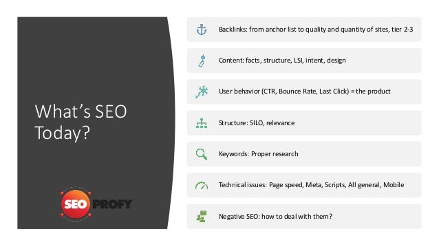 What's SEO Today? Backlinks: from anchor list to quality and quantity of sites, tier 2-3 Content: facts, structure, LSI, i...
