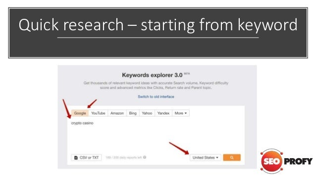 Quick research – starting from keyword