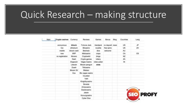 Quick Research – making structure