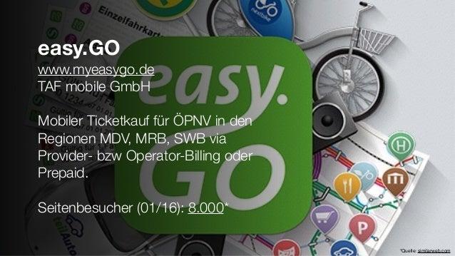 easy.GO www.myeasygo.de TAF mobile GmbH Mobiler Ticketkauf für ÖPNV in den Regionen MDV, MRB, SWB via Provider- bzw Operat...