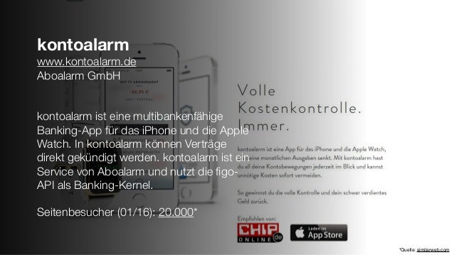 kontoalarm www.kontoalarm.de Aboalarm GmbH kontoalarm ist eine multibankenfähige Banking-App für das iPhone und die Apple ...