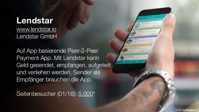 Lendstar www.lendstar.io Lendstar GmbH Auf App basierende Peer-2-Peer Payment App. Mit Lendstar kann Geld gesendet, empfan...