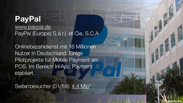 PayPal www.paypal.de PayPal (Europe) S.à r.l. et Cie, S.C.A Onlinebezahldienst mit 16 Millionen Nutzer in Deutschland. Ein...