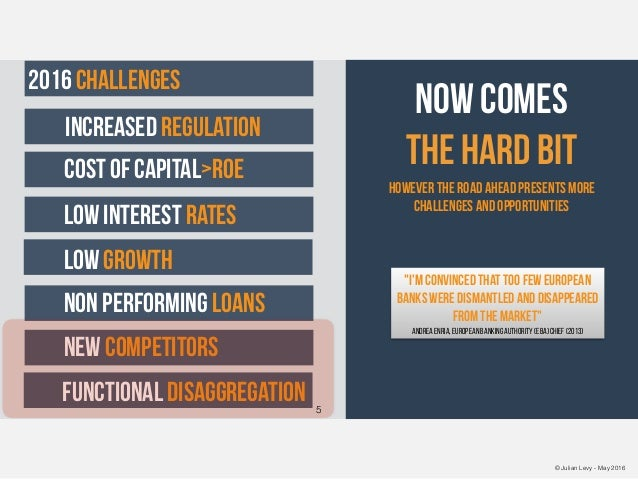 © Julian Levy - May 2016 now comes the hard bit increased regulation cost of capital>roe functional disaggregation new com...