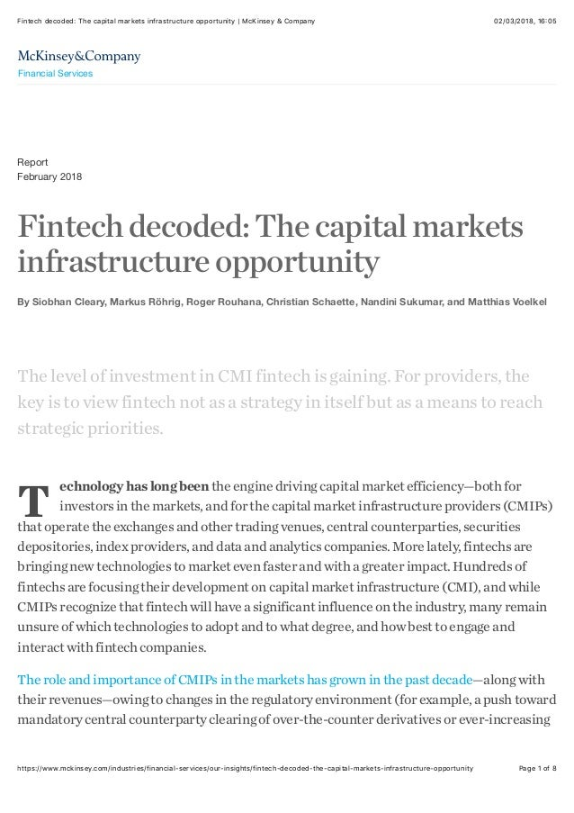 Fintech decoded: the capital markets infrastructure opportunity | Mc …