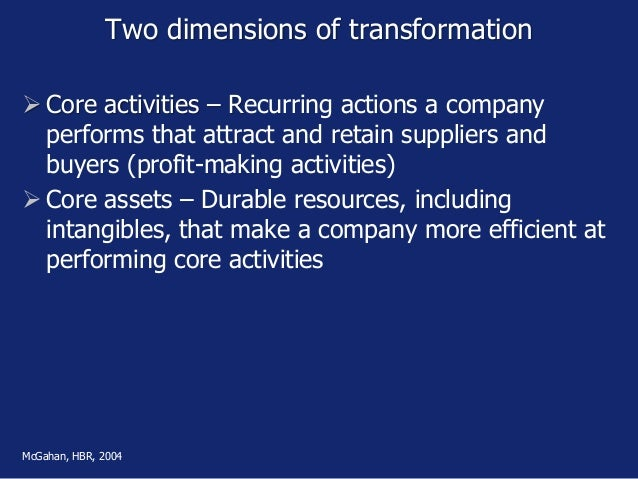 Two dimensions of transformation  Core activities – Recurring actions a company performs that attract and retain supplier...