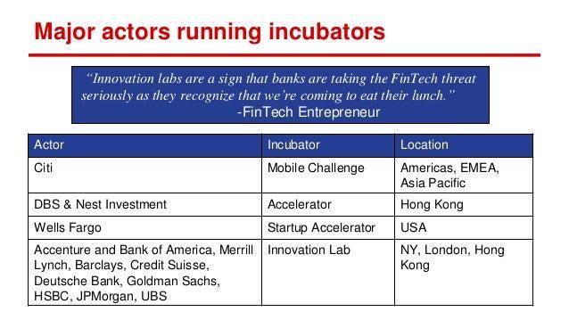 Major actors running incubators Actor Incubator Location Citi Mobile Challenge Americas, EMEA, Asia Pacific DBS & Nest Inv...