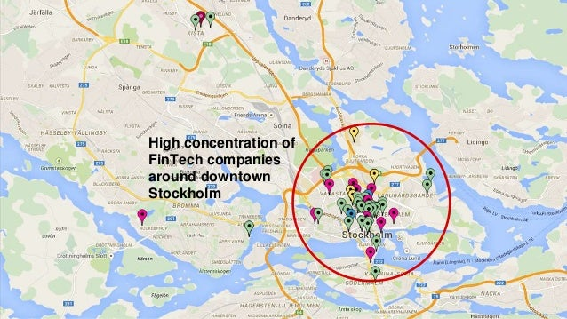 High concentration of FinTech companies around downtown Stockholm