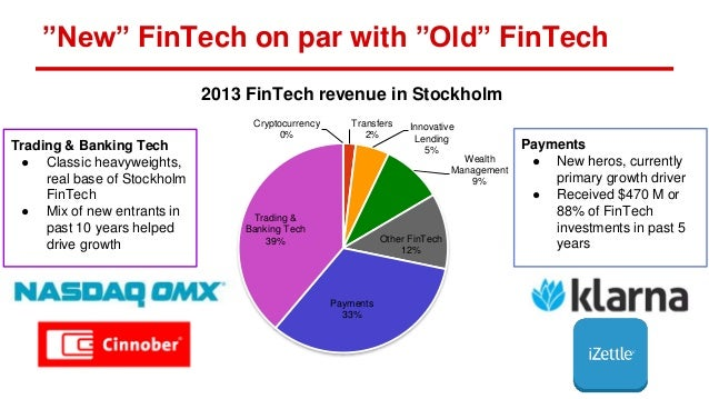 """New"" FinTech on par with ""Old"" FinTech Trading & Banking Tech ● Classic heavyweights, real base of Stockholm FinTech ● Mi..."