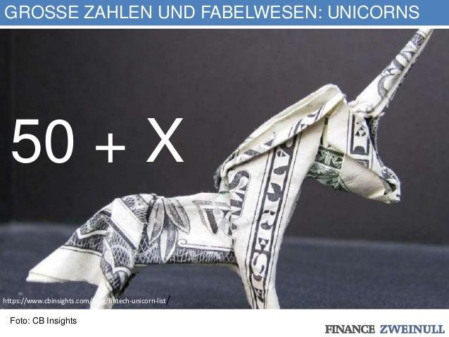 GROSSE ZAHLEN UND FABELWESEN: UNICORNS 50 + X Foto: CB Insights https://www.cbinsights.com/blog/fintech-unicorn-list/