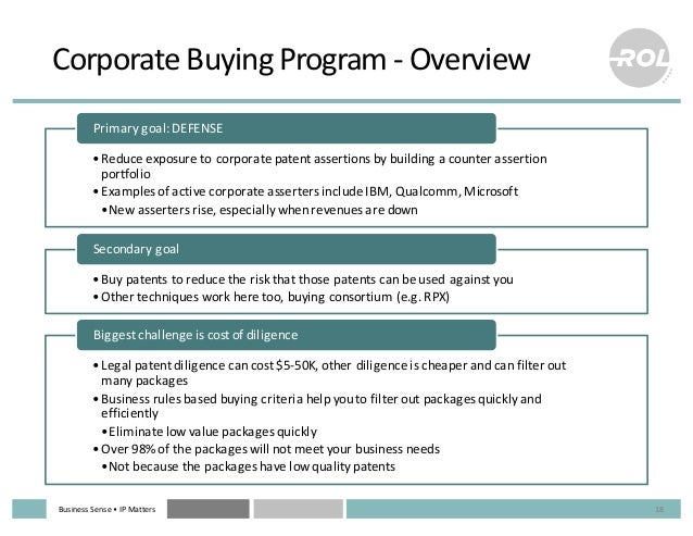 Business  Sense  • IP  Matters Corporate  Buying  Program  -‐ Overview •Reduce  exposure  to  corporate...
