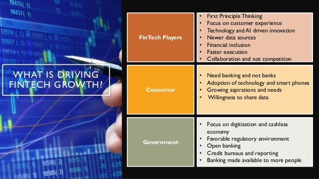 WHAT IS DRIVING FINTECH GROWTH? FinTech Players • First Principle Thinking • Focus on customer experience • Technology and...