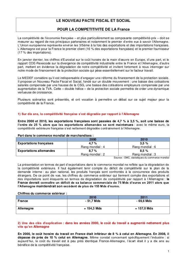 LE NOUVEAU PACTE FISCAL ET SOCIAL                            POUR LA COMPETITIVITE DE LA FranceLa compétitivité de l'écono...