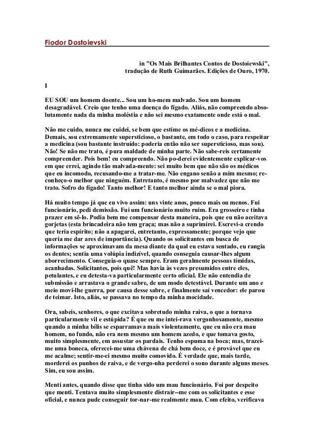 """Fiodor Dostoievski in """"Os Mais Brilhantes Contos de Dostoiewski"""", tradução de Ruth Guimarães. Edições de Ouro, 1970. I EU ..."""