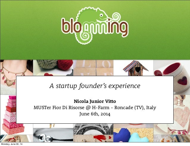 A startup founder's experience Nicola Junior Vitto MUSTer Fior Di Risorse @ H-Farm - Roncade (TV), Italy June 6th, 2014 Mo...
