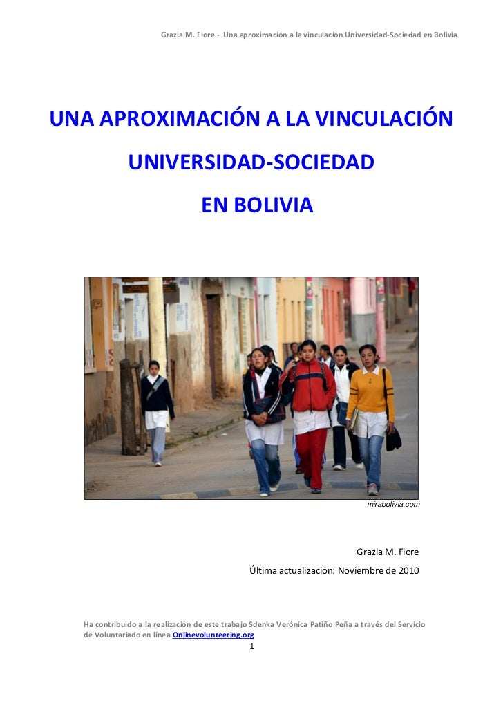 Grazia M. Fiore - Una aproximación a la vinculación Universidad-Sociedad en BoliviaUNA APROXIMACIÓN A LA VINCULACIÓN      ...