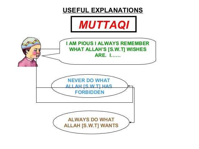 USEFUL EXPLANATIONS MUTTAQI I AM PIOUS I ALWAYS REMEMBER WHAT ALLAH'S [S.W.T] WISHES ARE. I…… NEVER DO WHAT ALLAH [S.W.T] ...