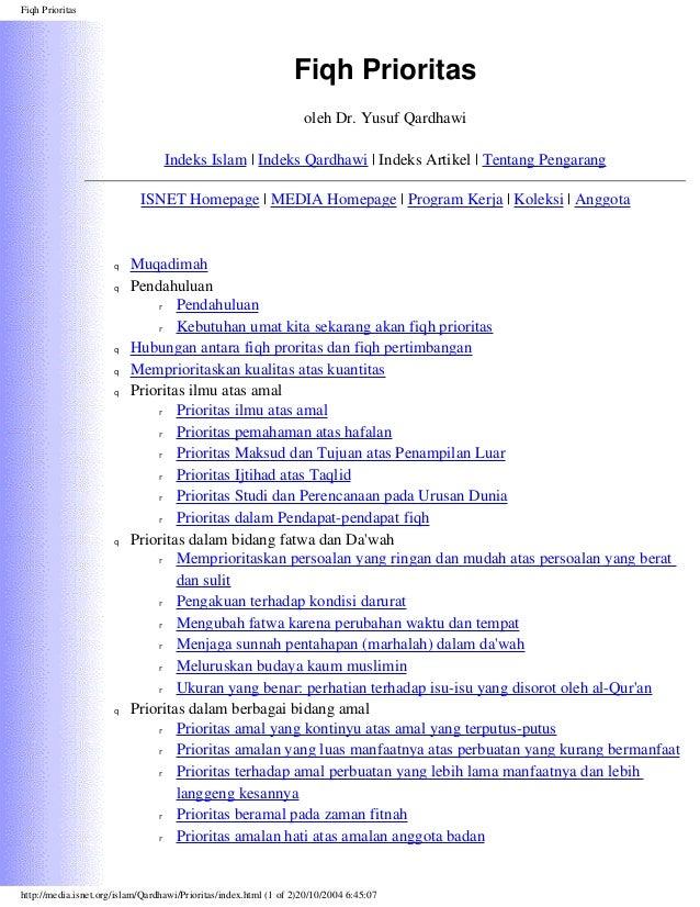 Fiqh Prioritas  Fiqh Prioritas oleh Dr. Yusuf Qardhawi Indeks Islam | Indeks Qardhawi | Indeks Artikel | Tentang Pengarang...