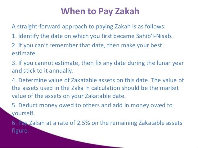 When to Pay Zakah A straight-forward approach to paying Zakah is as follows: 1. Identify the date on which you first becam...