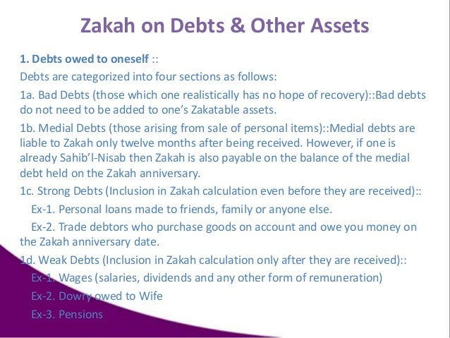 Zakah on Debts & Other Assets 1. Debts owed to oneself :: Debts are categorized into four sections as follows: 1a. Bad Deb...