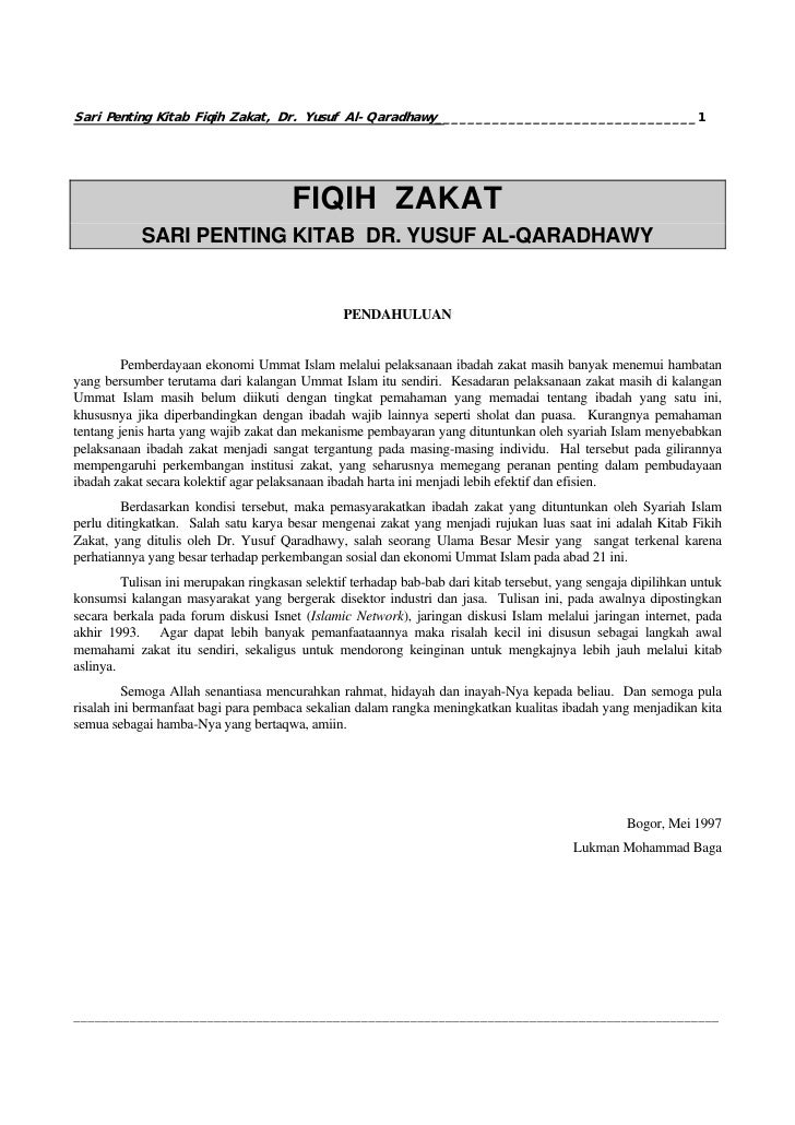 Sari Penting Kitab Fiqih Zakat, Dr. Yusuf Al-Qaradhawy________________________________1                                   ...