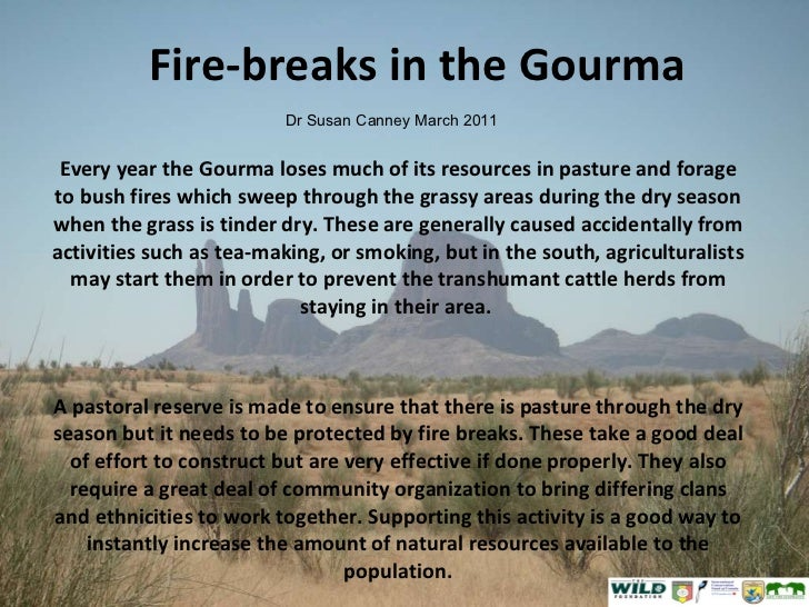 Fire-breaks in the Gourma Every year the Gourma loses much of its resources in pasture and forage to bush fires which swee...