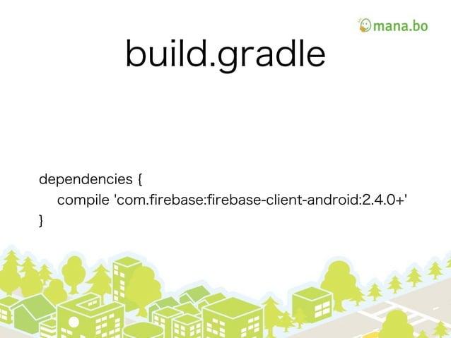 build.gradle dependencies { compile 'com.firebase:firebase-client-android:2.4.0+' }