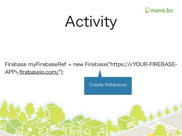 "Activity Firebase myFirebaseRef = new Firebase(""https://<YOUR-FIREBASE- APP>.firebaseio.com/""); Create Reference"