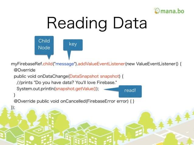 """Reading Data myFirebaseRef.child(""""message"""").addValueEventListener(new ValueEventListener() { @Override public void onDataC..."""