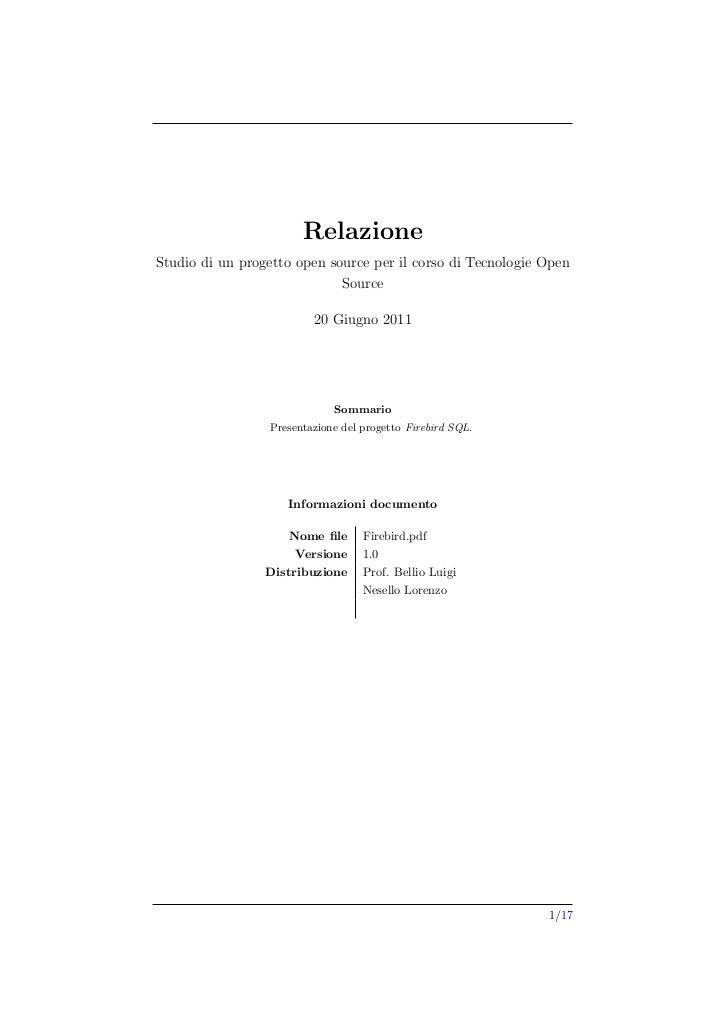 RelazioneStudio di un progetto open source per il corso di Tecnologie Open                             Source             ...