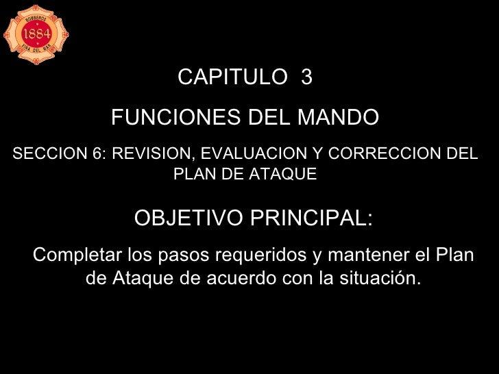 CAPITULO  3 FUNCIONES DEL MANDO SECCION 6:   REVISION, EVALUACION Y CORRECCION DEL PLAN DE ATAQUE OBJETIVO PRINCIPAL: Comp...
