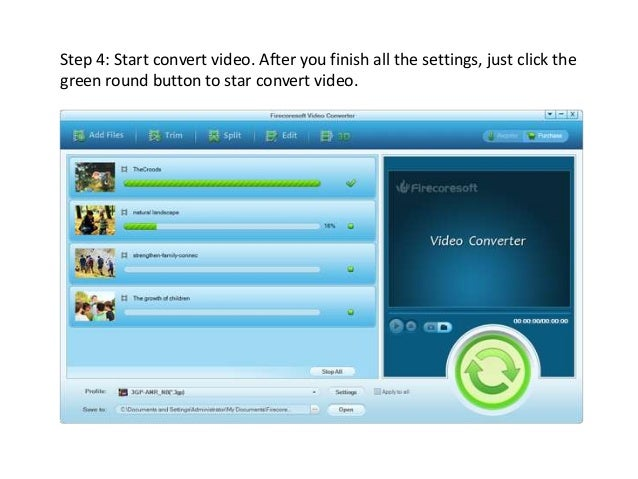 Functions of the Firecoresoft video converter