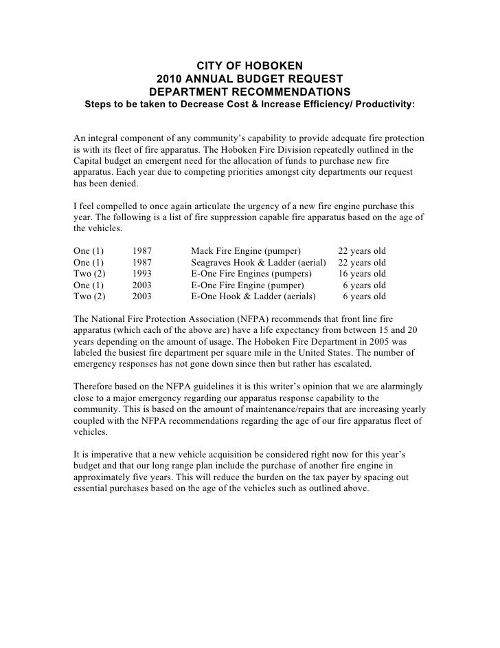 CITY OF HOBOKEN                     2010 ANNUAL BUDGET REQUEST                    DEPARTMENT RECOMMENDATIONS   Steps to be...
