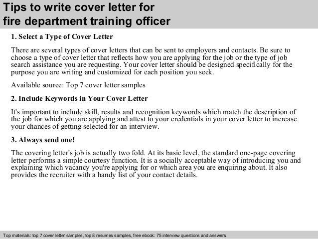 Fire Department Training Officer Cover Letter
