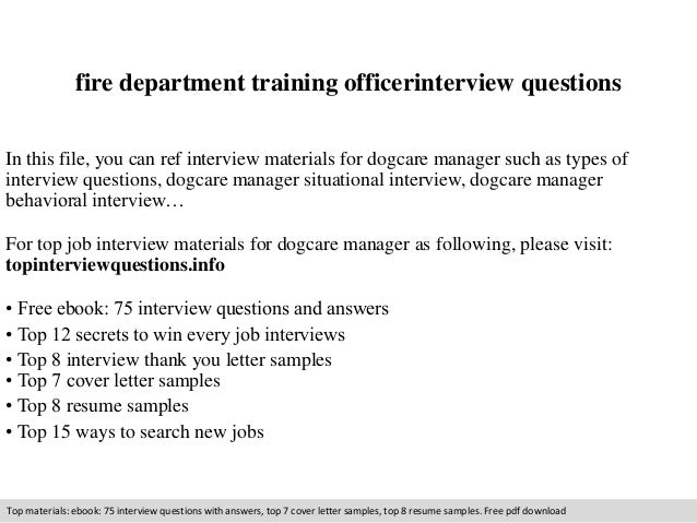 Fire department training officer interview questions