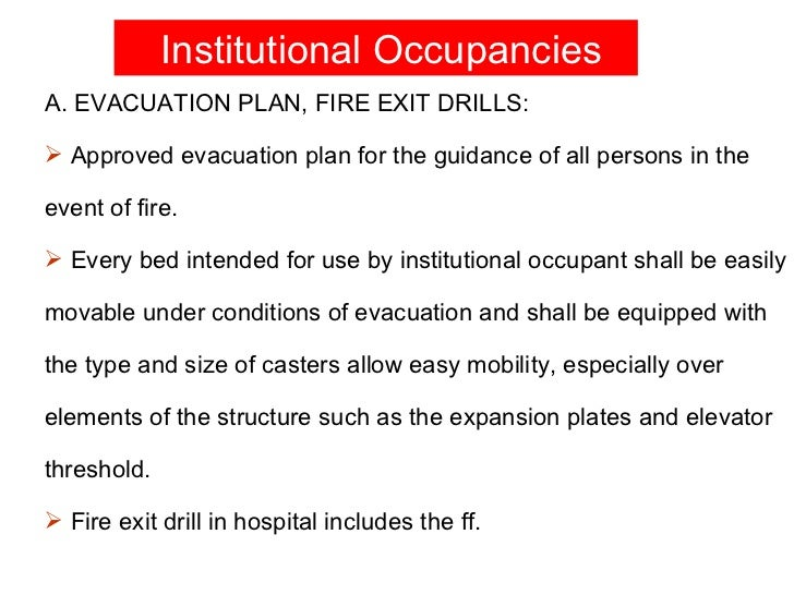 Fire dril li in hospital for Occupant emergency plan template