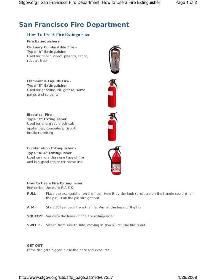 Sfgov.org | San Francisco Fire Department: How to Use a Fire Extinguisher                       Page 1 of 2San Francisco F...