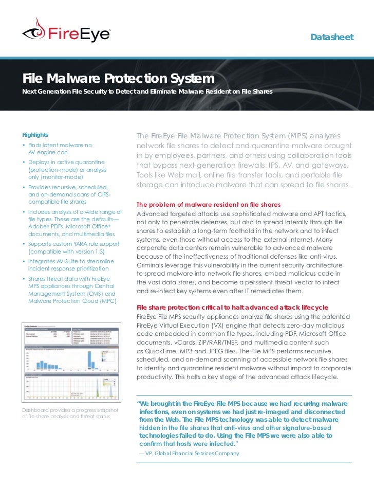DatasheetFile Malware Protection SystemNext Generation File Security to Detect and Eliminate Malware Resident on File Shar...