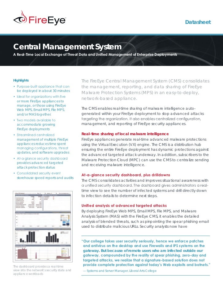DatasheetCentral Management SystemA Real-Time Local Exchange of Threat Data and Unified Management of Enterprise Deploymen...