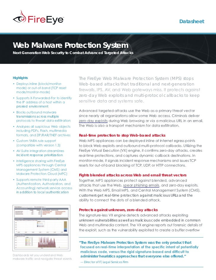 DatasheetWeb Malware Protection SystemNext Generation Web Security to Combat Advanced Targeted AttacksHighlights          ...