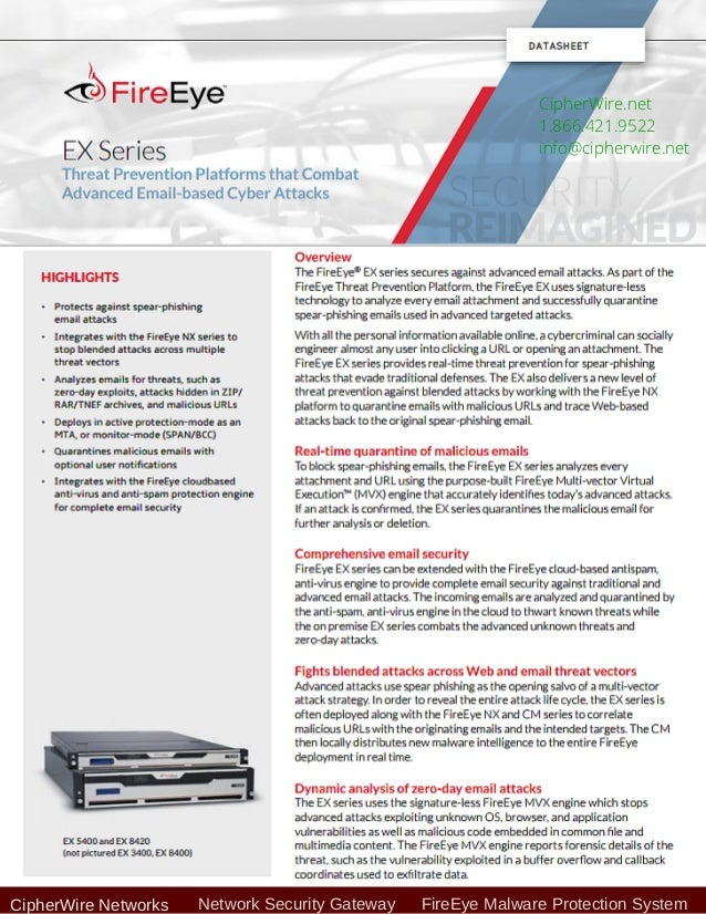Fire eye ex series email based cyber attacks threat prevention
