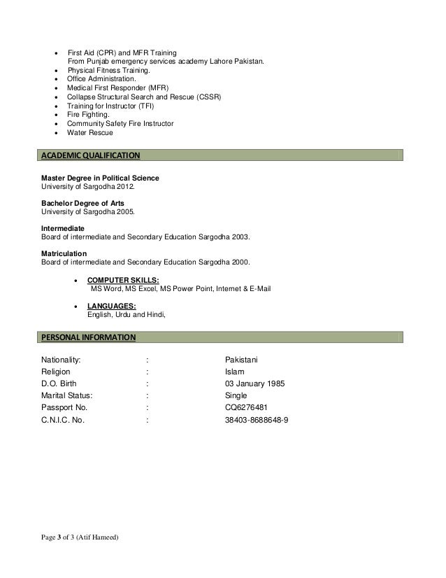 Curriculum vitae for fire service