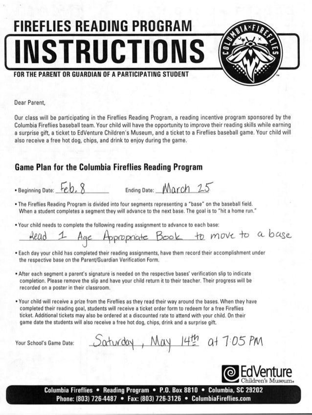 Fireflies Reading Program Instructions and Parent Form