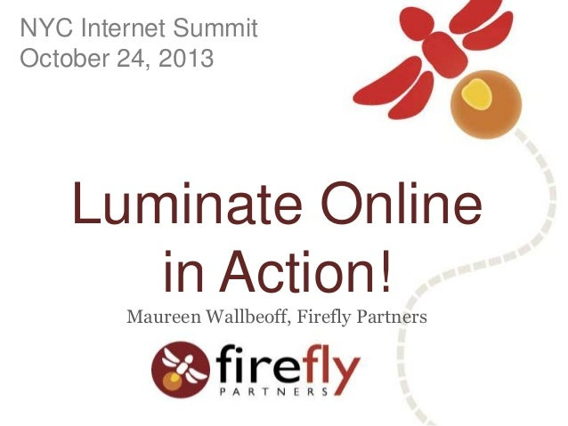 NYC Internet Summit October 24, 2013  Luminate Online in Action! Maureen Wallbeoff, Firefly Partners